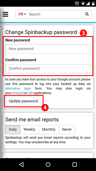 How to create a new Spinbackup password. Pic 3. spinbackup.com