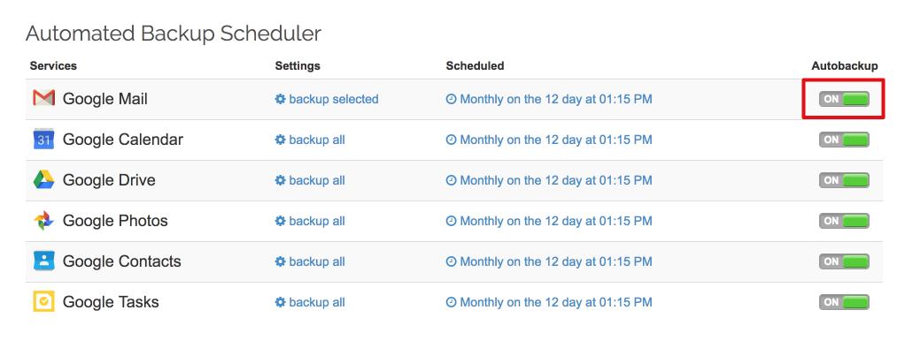 Spinbackup Gmail autobackup on