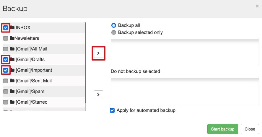 Spinbackup Gmail backup selected