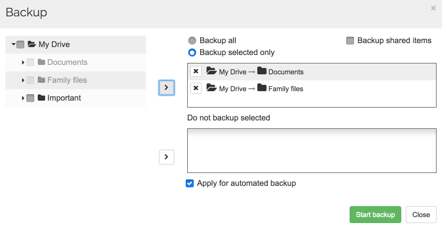 Spinbackup Google drive backup selected only