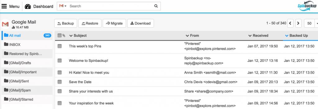Spinbackup Google mail backed up