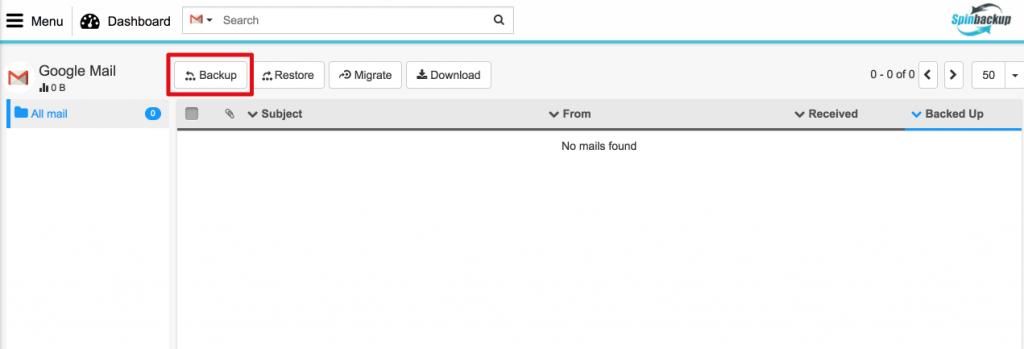 Spinbackup Google mail backup