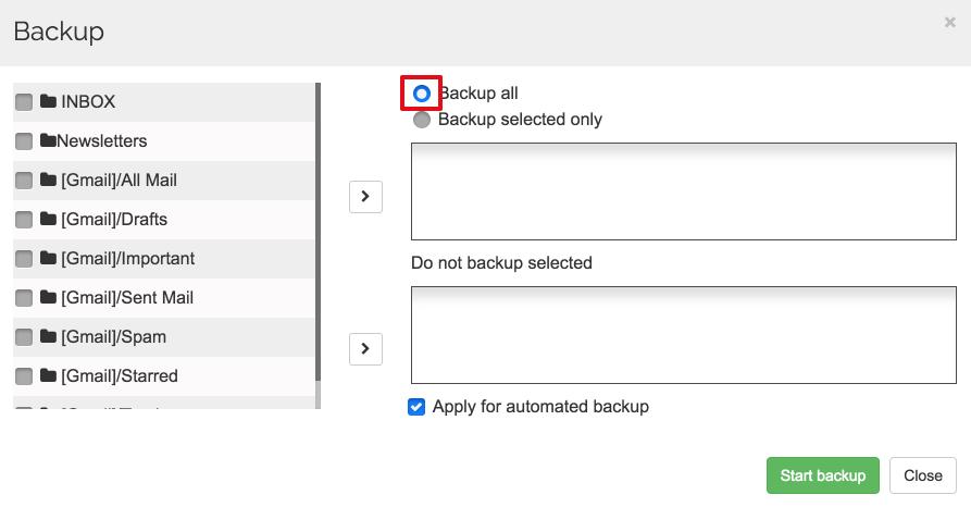 Spinbackup Google mail backup all