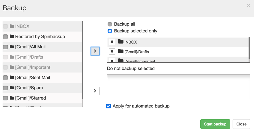 Spinbackup Google mail backup selected