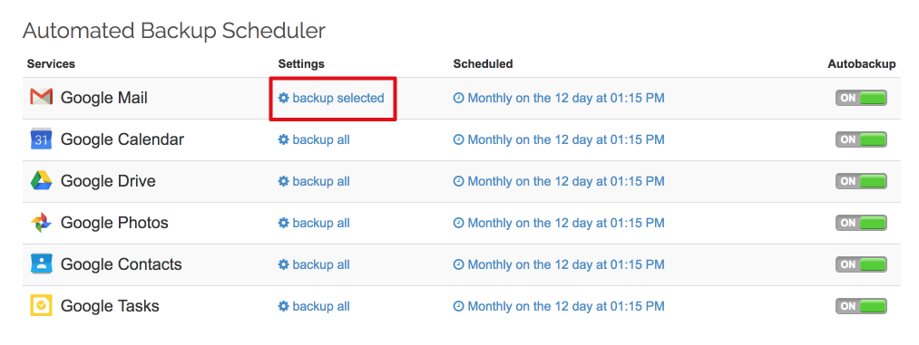 Spinbackup gmail backup items