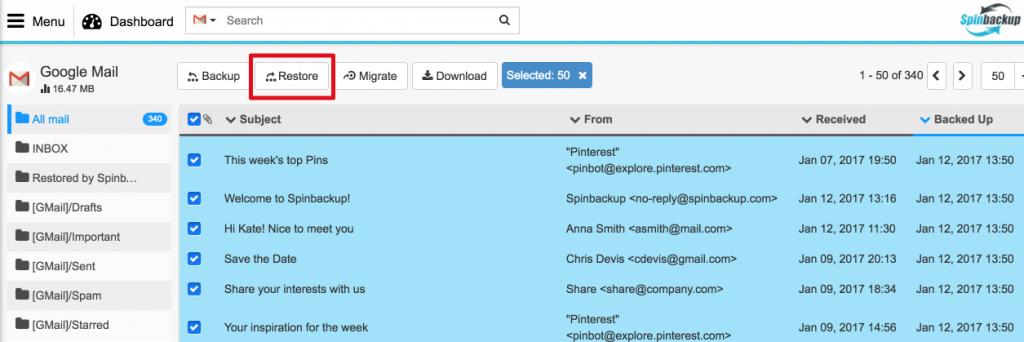 Spinbackup gmail restore
