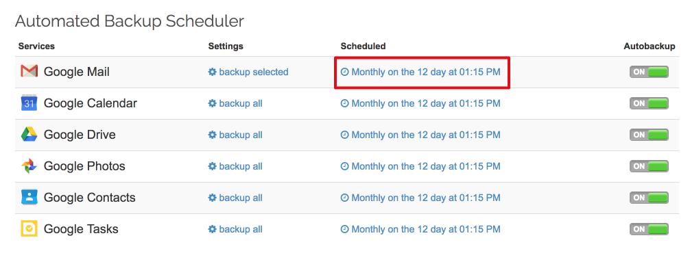 Spinbackup gmail schedule autobackup