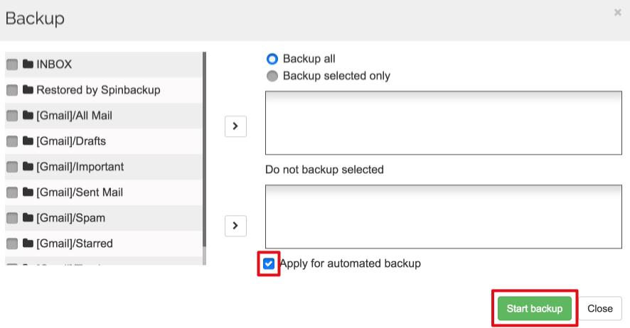 Spinbackup gmail start backup