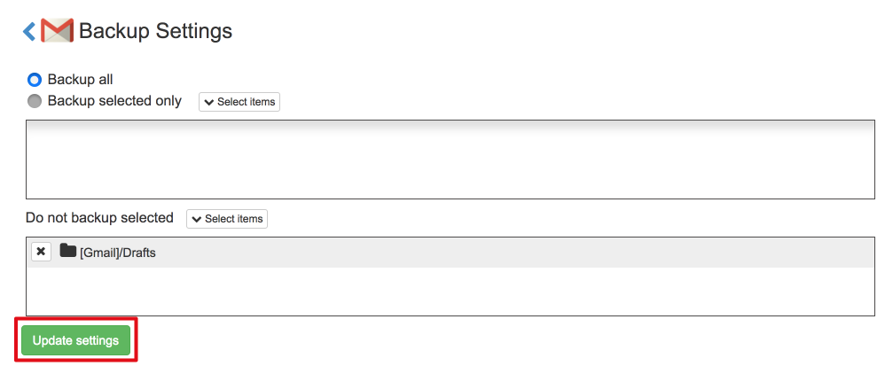 Spinbackup gmail update settings