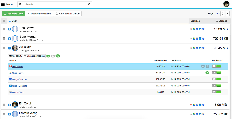 Domain Google account backup with Spinbackup
