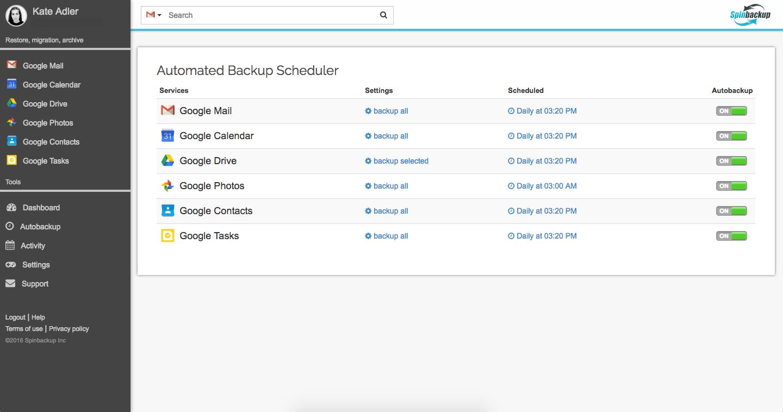 Individual Google account backup with Spinbackup