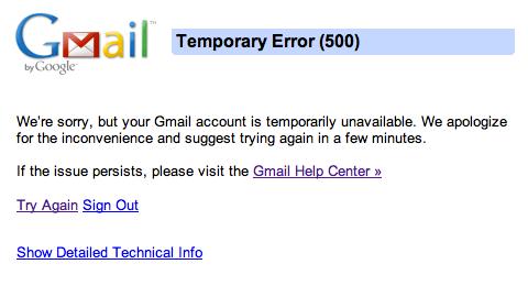 Gmail Temporary Error
