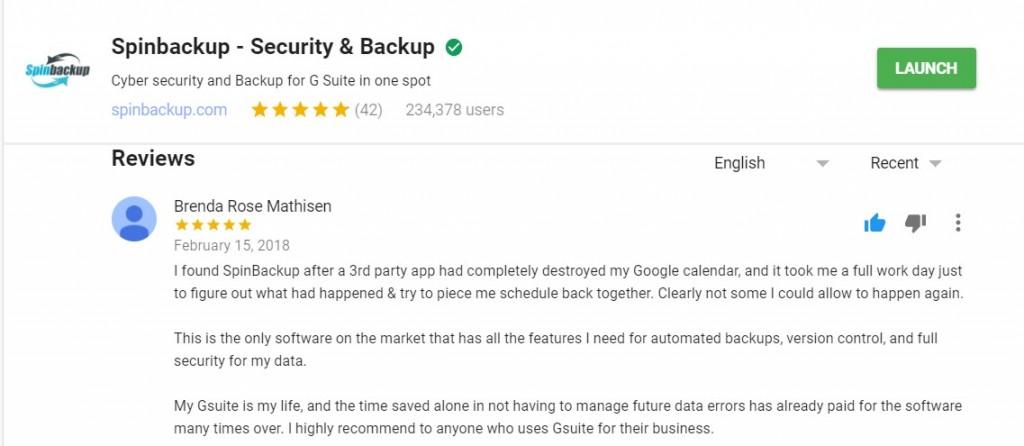 google calendar backup spinbackup review