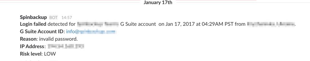 Spinbackup alert login failed