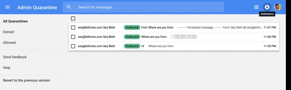 Gmail dlp quarantine