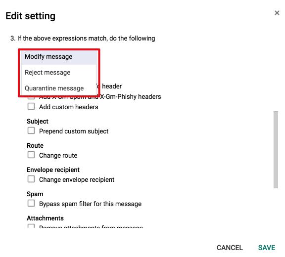 google gmail dlp modify message