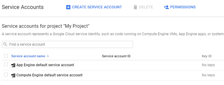 Service Account management – allows creating an identity such as code