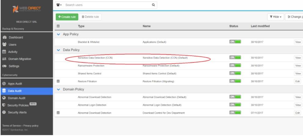 CCN detection is configured in Custom Policies
