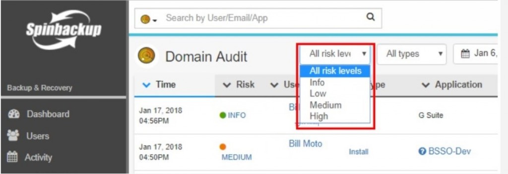 Filtering the Spinbackup Domain Audit view by risk level