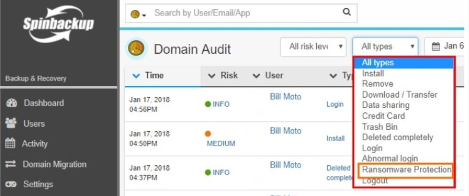 Using the Spinbackup Domain Audit dashboard to view events type