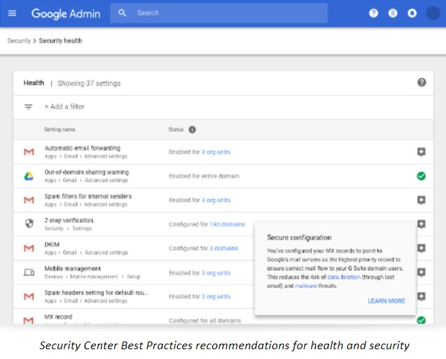 Security Center Best Practices recommendations for health and security