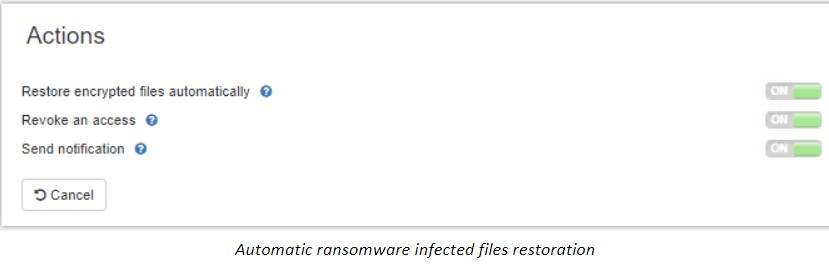 Automatic ransomware infected files restoration