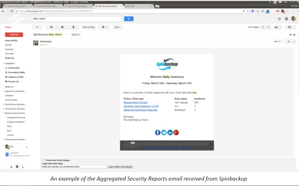 An example of the Aggregated Security Reports email received from Spinbackup