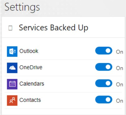Choosing Office 365 Services Backed Up in Spinbackup settings