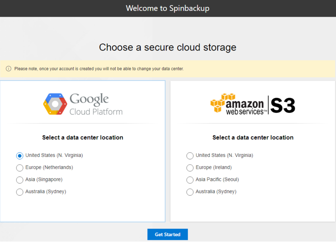 Spinbackup allows choosing the storage location for cloud-to-cloud backups