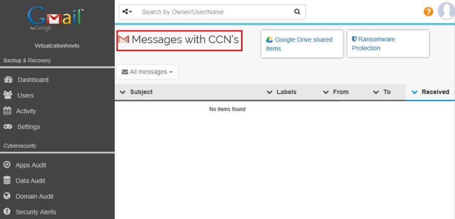 The Spinbackup Data Audit allows quickly seeing Messages with CCNs detected