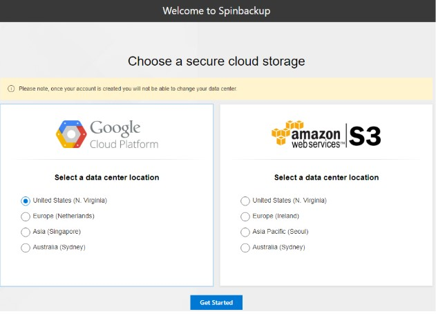 Spinbackup provides choices that allow strategically placing backup data so that it can effectively align with both business needs and the other challenges