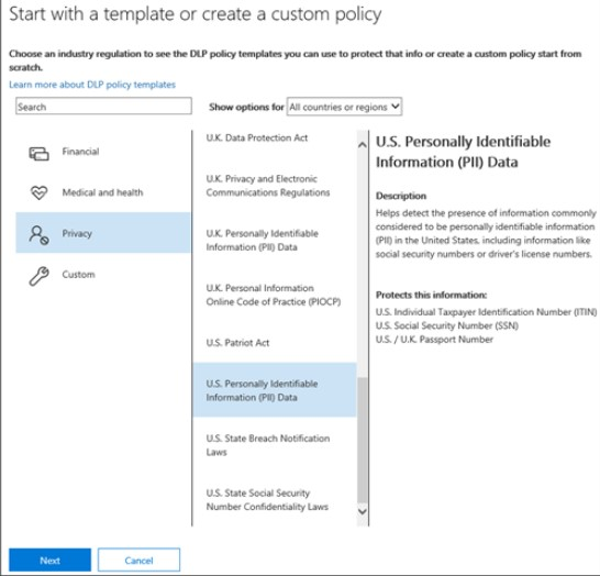 Office 365 DLP policy template for defining protected information (image courtesy of Microsoft)