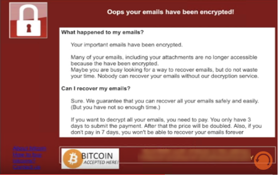 Message detailing the encryption of emails and the ransom the end user must pay to retrieve them