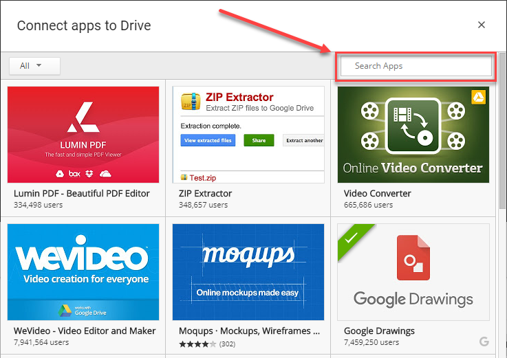 Google Drive Apps catalog