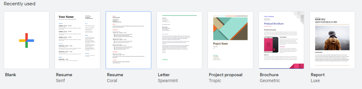 Google Docs Templates in Google Drive