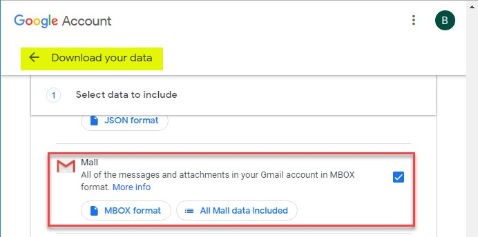 Selecting Mail under the Download your data interface