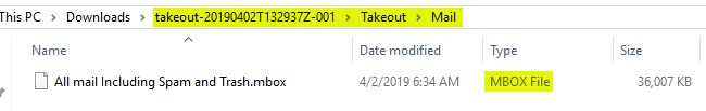 The Takeout > Mail folder containing the MBOX file