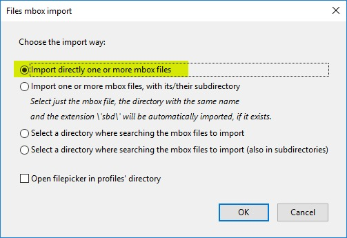 Choosing to directly import the MBOX file to Gmail