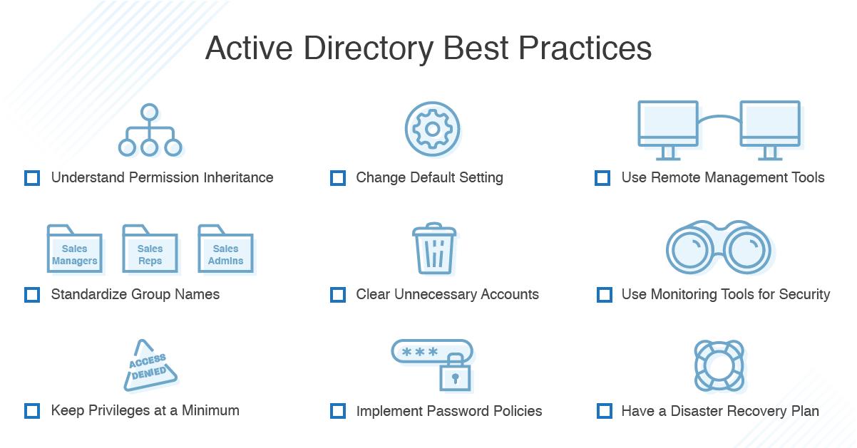 Active directory best practices checklist
