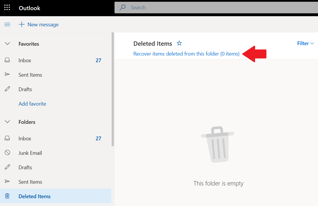 Office 365 deleted items