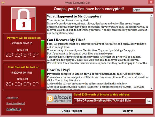 WannaCry ransomware example