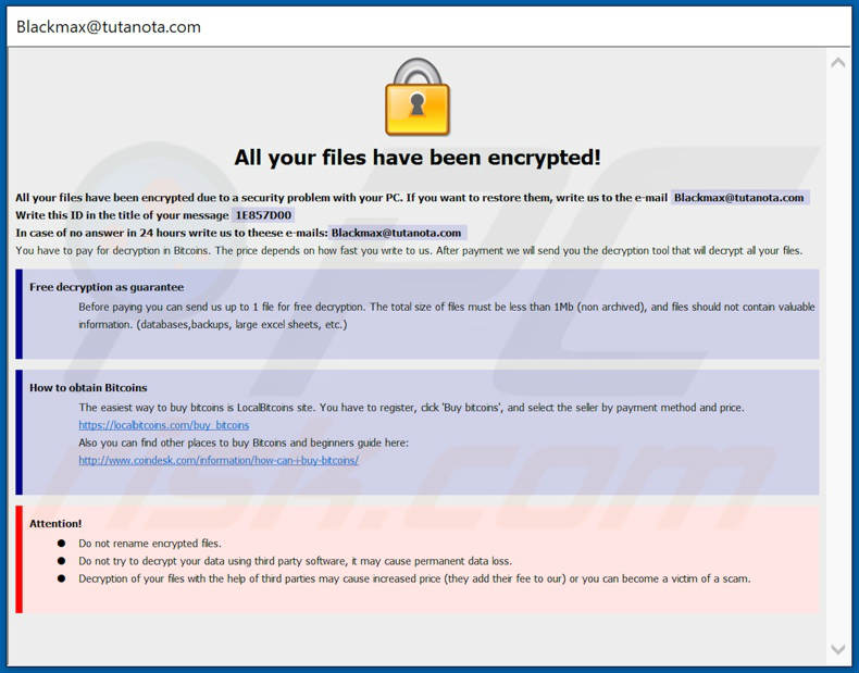 Dharma ransomware note