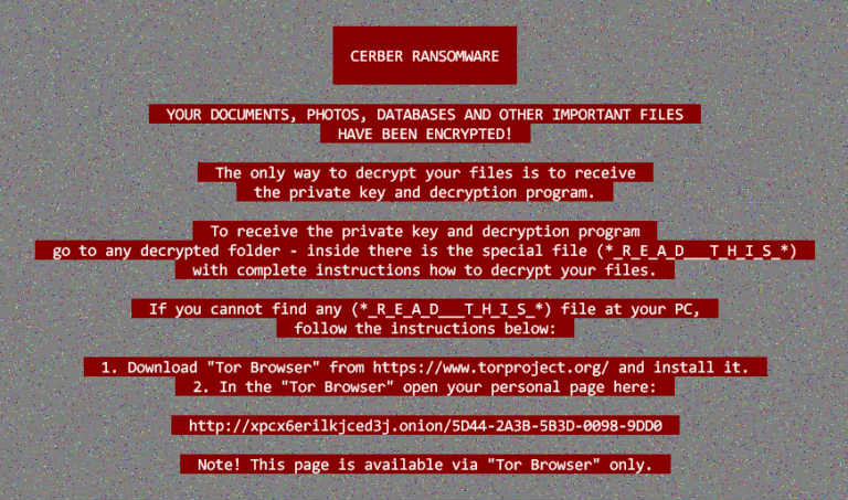 Ransomware examples: Cerber ransomware