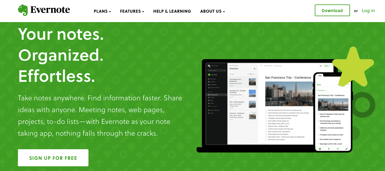 Remote working software: Evernote