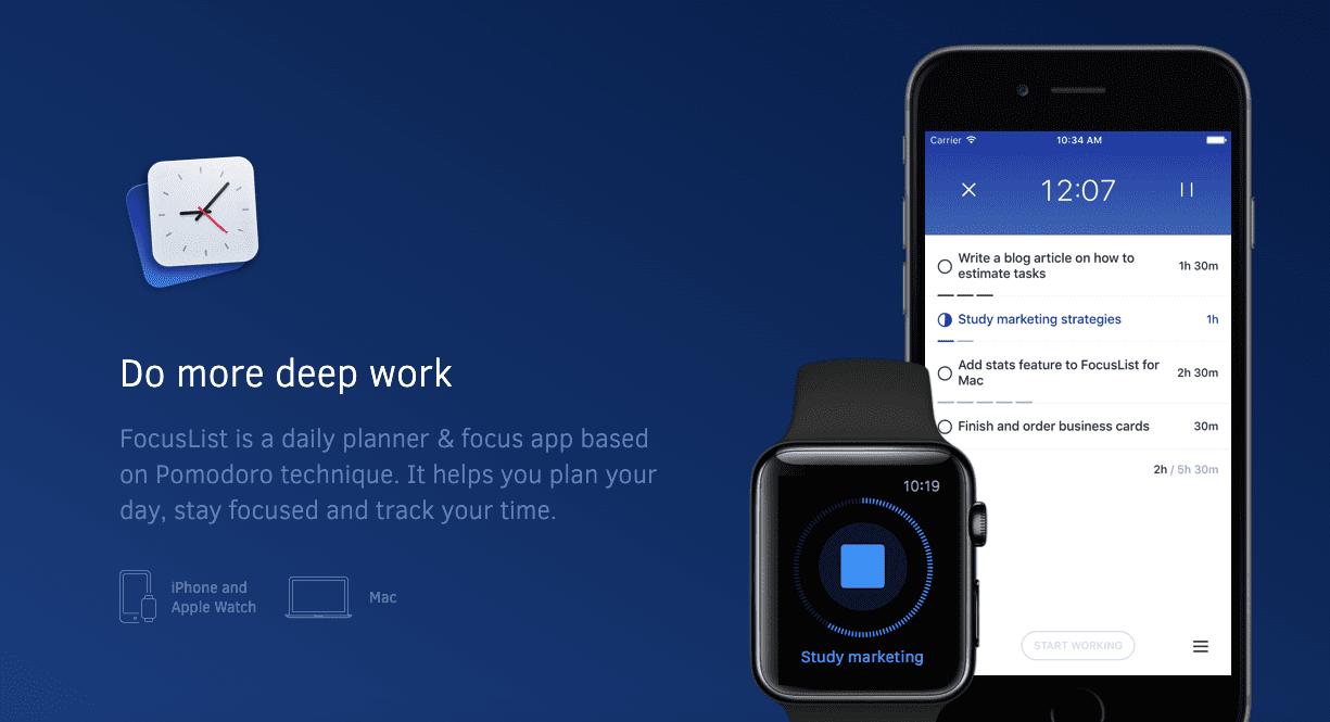 Productivity tools: Focuslist