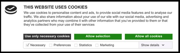 Compliant cookie notification example