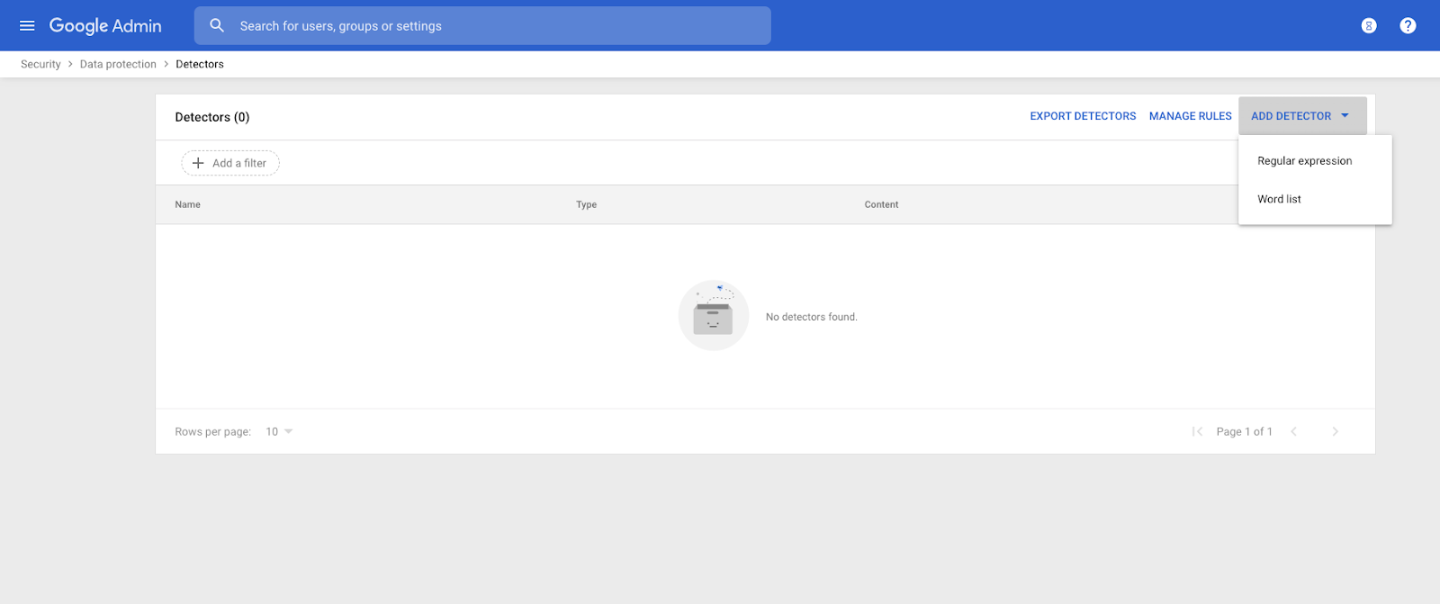 Detector rules in G Suite