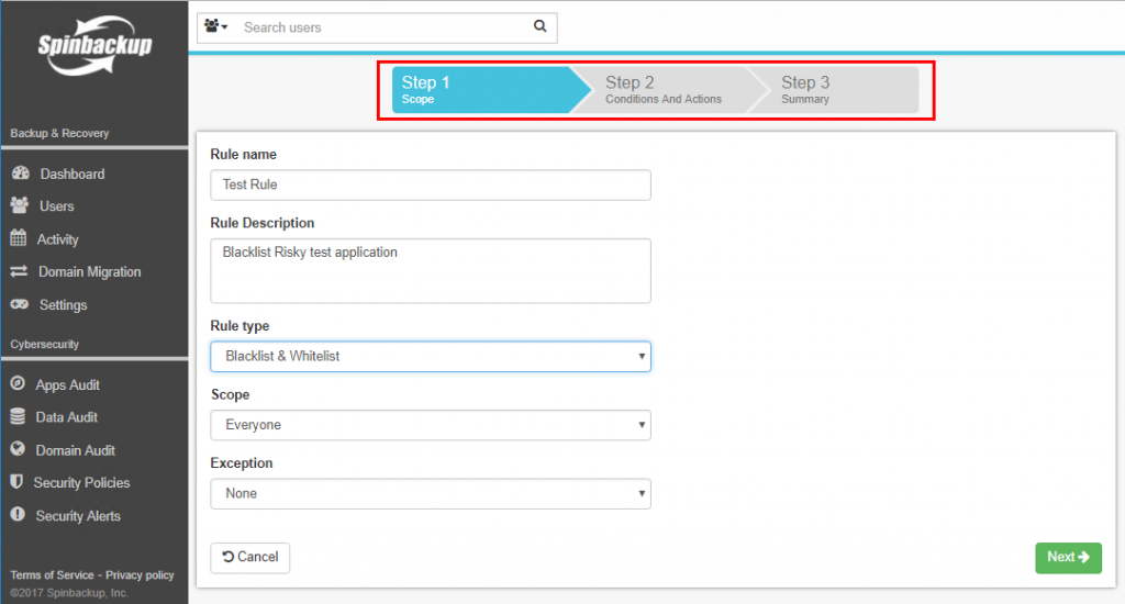 Security threat assessment application in G Suite